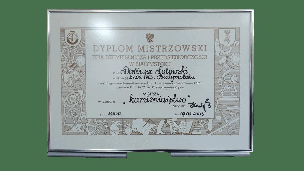 Certyfikat Dyplom Mistrzowski