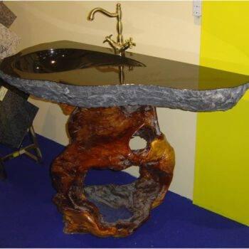 Kamienny blat łazienkowy z granitu ABSOLUT BLACK